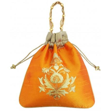 Mehrunnisa Big Floral Embroidered Potli Bag (Orange, BAG1665)