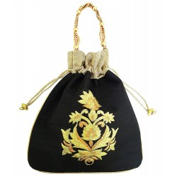 Mehrunnisa Big Floral Embroidered Potli Bag (Black, BAG1667)