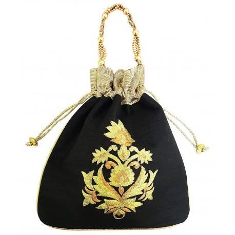 Mehrunnisa Big Floral Embroidered Potli Bag (Black, BAG1667)