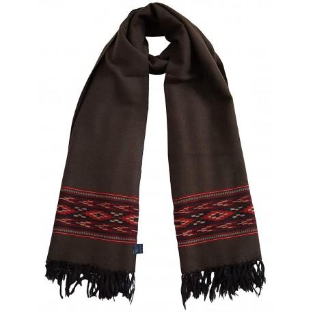 Mehrunnisa Handcrafted (Dark Brown) Premium Pure Yak Wool Stole/Long Scarf (GAR2150)
