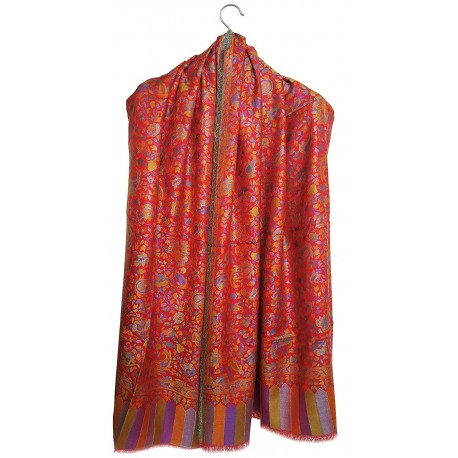 Mehrunnisa Ethnic Kani Silk Wool Shawl Wrap From Kashmir (GAR2167)