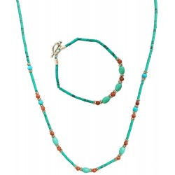 Mehrunnisa Afghani Ethnic Turquoise Necklace & Bracelet Set For Girls / Women (JWL1240)