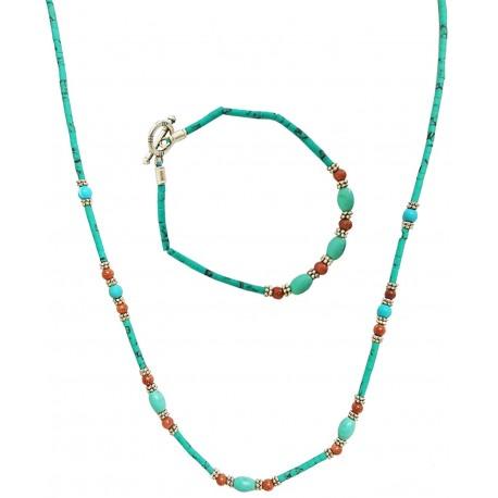 Mehrunnisa Afghani Ethnic Turquoise Necklace & Bracelet Set For Girls / Women (JWL1240)