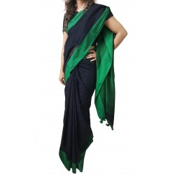 Mehrunnisa Handloom Pure Cotton SAREES With Blouse Piece From Bengal (Black , GAR2699)