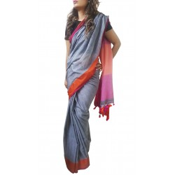 Mehrunnisa Handloom Pure Cotton SAREES With Blouse Piece From Bengal (Grey, GAR2701)