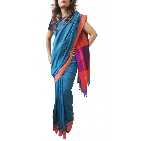 Mehrunnisa Handloom Pure Cotton SAREES With Blouse Piece From Bengal (Turquoise, GAR2700)