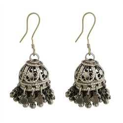 Mehrunnisa Afghani Tribal Oxidized Silver Jhumki Earrings For Girls (JWL1354)