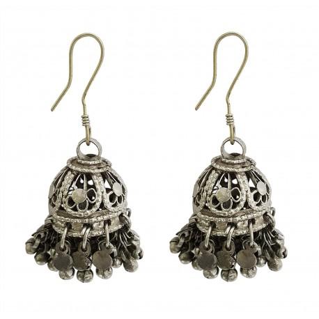 Mehrunnisa Afghani Tribal Oxidized Silver Jhumki Earrings For Girls (JWL1354)