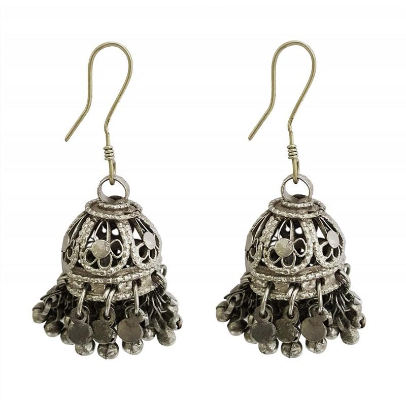 cd7966127 Mehrunnisa Afghani Tribal Oxidized Silver Jhumki Earrings For Girls  (JWL1354). Loading zoom