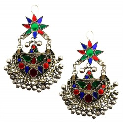 Mehrunnisa Traditional Afghani Earrings with Colored Glass For Girls (JWL1580)
