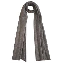 Mehrunnisa Handcrafted Premium 100% Pure Wool Zig Zag Muffler (Brown, GAR2697)