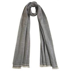 Mehrunnisa Handcrafted Premium 100% Pure Wool Zig Zag Muffler (Grey & Beige, GAR2697)