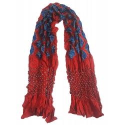 Mehrunnisa Handcrafted Gajji Silk Bandhani Tie & Dye Stole from Kutch (GAR2705)