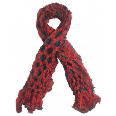 Mehrunnisa Handcrafted Gajji Silk Bandhani Tie & Dye Stole from Kutch (Maroon & Black,  GAR2704)