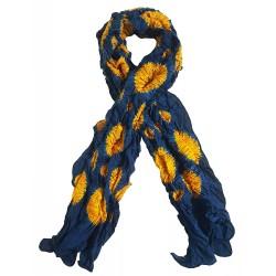 Mehrunnisa Handcrafted Gajji Silk Bandhani Tie & Dye Stole from Kutch (Blue & Yellow,  GAR2703)