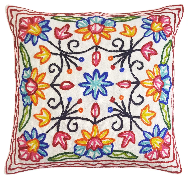 Hand Embroidered Cushion Cover \u2013 KASHMUTLI 16X16