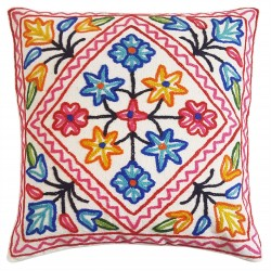 Mehrunnisa (16X16) Exclusive Kashmiri Hand Embroidered Cushion Cover (HOM2579)