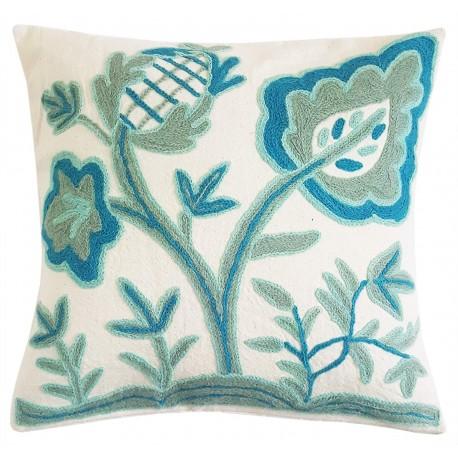 "Mehrunnisa (16""X16"") Exclusive Kashmiri Hand Embroidered Cushion Cover (HOM2577)"