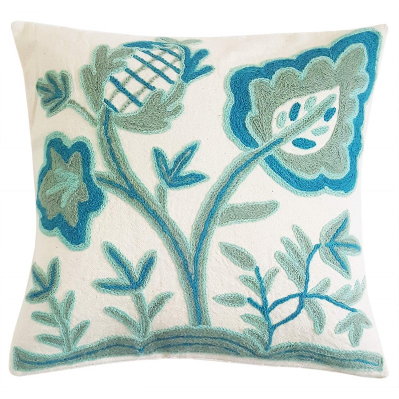 HOM2257 16X16 Exclusive Hand Embroidered Crewel Work Cushion Mehrunnisa