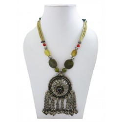 Mehrunnisa Afghani Green Jade Stone Pendant Necklace (JWL2713)