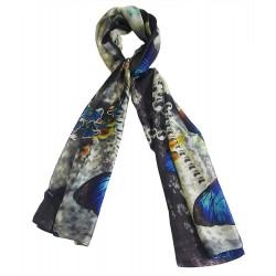 Mehrunnisa 100% Pure Silk Scarf/Neck Wrap – Unisex (GAR2484, Butterfly)