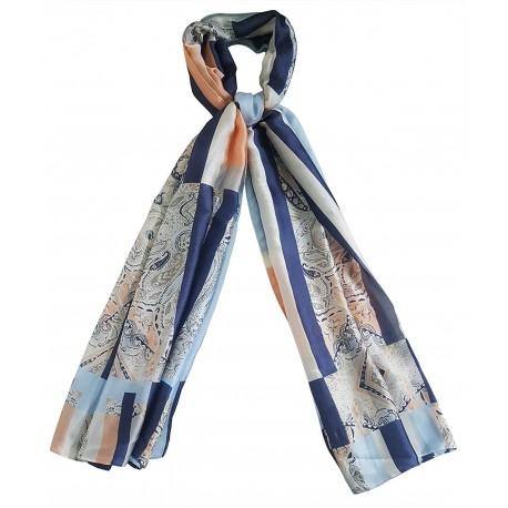 Mehrunnisa Poly Silk Scarf / Neck Wrap – Unisex (GAR2487 , Geometric)
