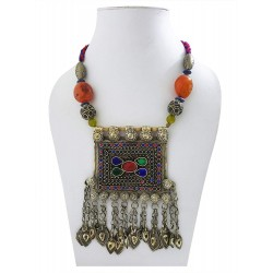 Mehrunnisa Afghani Tribal Long Necklace with Thread Cord for Women (JWL2715)