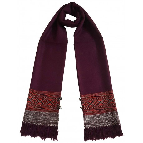 Mehrunnisa Unisex Pure Wool Handcrafted Kullu Stole (GAR2630, Wine)