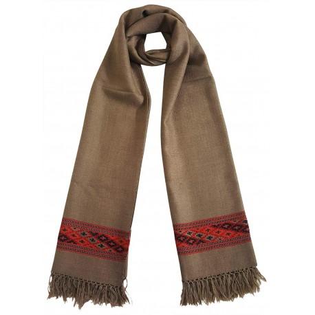 Mehrunnisa Handcrafted Premium Pure Wool Kullu Stole – Unisex (GAR2625, Natural Beige)