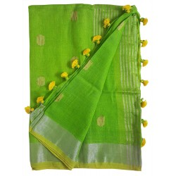 Mehrunnisa Handloom Linen Butta SAREE With Zari Border From West Bengal (GAR2721, Green)