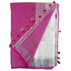 Mehrunnisa Handloom Linen Butta SAREE With Zari Border From West Bengal (GAR2717,  White & Pink)