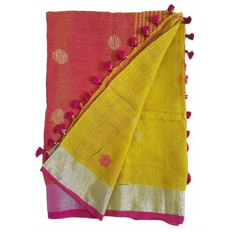 Mehrunnisa Handloom Linen Butta SAREE With Zari Border From West Bengal (GAR2723,  Yellow & Magenta)