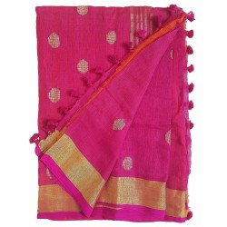 Mehrunnisa Handloom Linen Butta SAREE With Zari Border From West Bengal (GAR2718,  Magenta)
