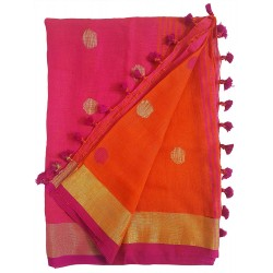 Mehrunnisa Handloom Linen Butta SAREE With Zari Border From West Bengal (GAR2720,  Orange & Magenta)