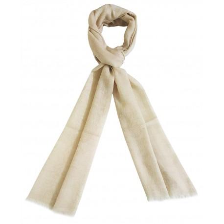 Mehrunnisa Handcrafted Jacquard Pure Pashmina Wool Muffler/Scarf Wrap – Unisex (GAR2604, White)