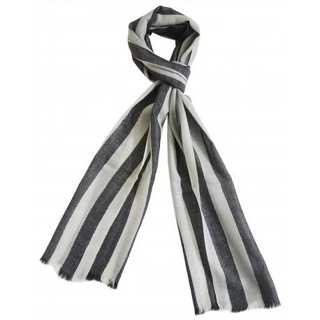 Mehrunnisa Handcrafted Pure Pashmina Cashmere Wool Big Stripes Muffler/Scarf Wrap – Unisex (GAR2598, White & Black)