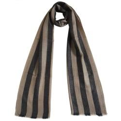 Mehrunnisa Handcrafted Pure Pashmina Cashmere Wool Big Stripes Muffler/Scarf Wrap – Unisex (GAR2597, Beige & Black)