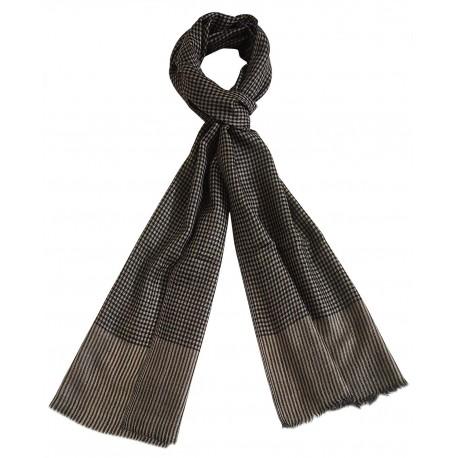 Mehrunnisa Handcrafted Pure Pashmina Cashmere Wool Check Muffler/Scarf Wrap – Unisex (GAR2596, Beige & Black)