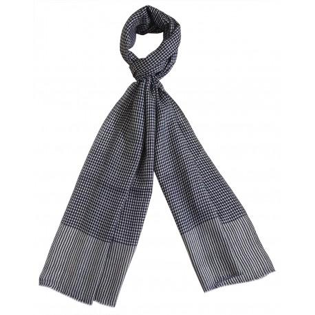 Mehrunnisa Handcrafted Pure Pashmina Cashmere Wool Check Muffler/Scarf Wrap – Unisex (GAR2595, White & Navy Blue)