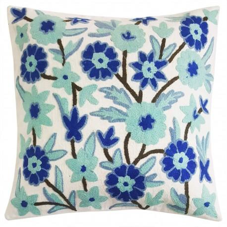 Mehrunnisa Hand Embroidered Wool Crewel Work Kashmiri 16X16-inch Cushion Cover  (HOM2574, Blue)