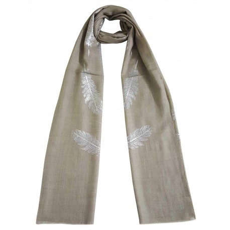 Mehrunnisa Shimmer Feather On Fine Wool Stole/Large Scarf – Unisex (GAR2562, Natural)