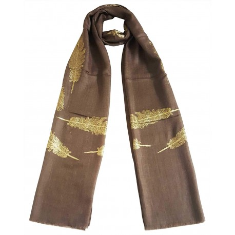 Mehrunnisa Shimmer Feather On Fine Wool Stole/Large Scarf – Unisex (GAR2561, Brown)