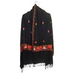 Mehrunnisa Crewel Embroidery Woollen Stole / Large Scarf From Kashmir (Black, GAR2533)