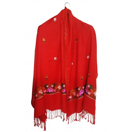 Mehrunnisa Crewel Embroidery Woollen Stole / Large Scarf From Kashmir (Red, GAR2532)