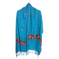 Mehrunnisa Crewel Embroidery Woollen Stole / Large Scarf From Kashmir (Turquoise, GAR2531)