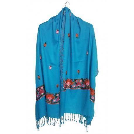 Mehrunnisa Crewel Embroidery Woollen Stole / Large Scarf From Kashmir (Turquoise, GAR2531)
