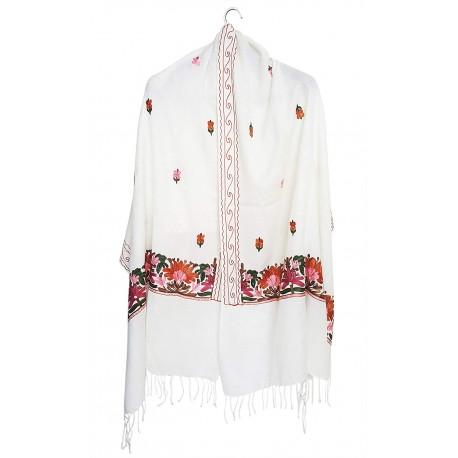 Mehrunnisa Crewel Embroidery Woollen Stole / Large Scarf From Kashmir (White, GAR2530)