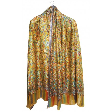 Mehrunnisa Ethnic Kani Silk Wool Shawl From Kashmir (GAR2512)