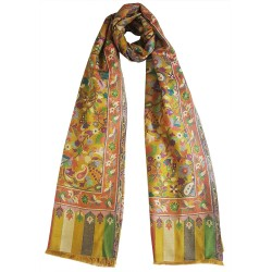 Mehrunnisa Ethnic Kani Silk Wool Stole/Large Scarf Wrap From Kashmir (GAR2497, Golden)