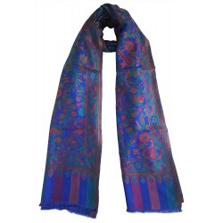 Mehrunnisa Ethnic Kani Silk Wool Stole/Large Scarf Wrap From Kashmir (GAR2496, Royal blue)